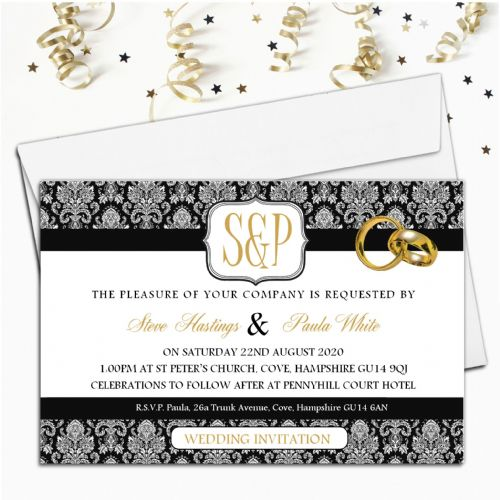 10 Personalised Black & Gold Wedding Invitations Day/Evening N64